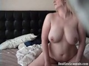 Busty blonde chick caught on spy cam getting fucked