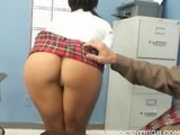 Sexy Mackenzee Pierce bounces her nice ass on a teacher cock
