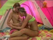 Scholgirls ally and gina have fun in a lesbian action
