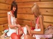 duo blonde lesbians masturbation