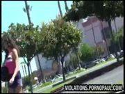 Guy throws cum on girl in public