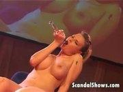 Blonde stripper teasing good