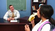 sexy brunette girl seduces her teacher by eating banana before getting fucked