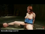 Bound fat redhead gets clit vibed and shocked
