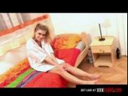 Pigtailed Blonde Masturbates in Bed
