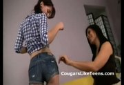 Hot brunette MILF seduces young horny cheerleader