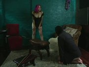 Dom Tickles Hogtied Blonde