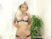 Georgous blonde Uma masturbating with a glass dildo until she squirts