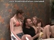 Massage turns into threesome at student party