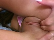 Long haired Iris shows off tight boobs and masturabates with her fingers and toys