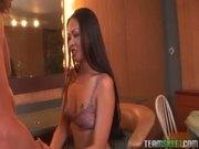 Asian sweetie Nyomi Zen deepthroats a huge cock
