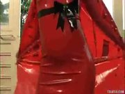 Shemale in red Latex