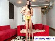 Brunette tranny in high heels