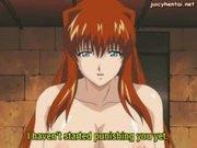 Anime slut with milky boobs doing blowjob