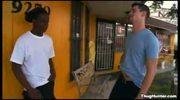 Black thug sucking on white dick outside