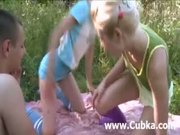 outdoor threesome fucking with two chicks