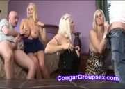 Three platinum blonde cougars craving for cock