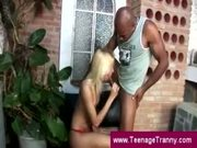 Teen transsexual blows a black guy