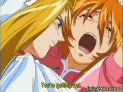 Blonde anime lesbian gets drilled with a strapon