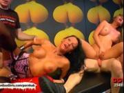 Brunette babes satisfy their bukkake and girl to girl fantasies
