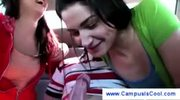 Backseat dicksucking from two college girls