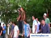 College guys playing naked hazing games