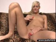 Blonde plays with her pierced pussy before blowjob