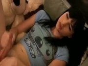 Sexy Teen Shemale Strokes Her Big Cock and Cums