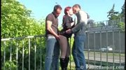 Risky threesome by a busy freeway WAY COOL
