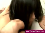 Teen tranny shows her gaping butthole