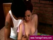 Teen tranny practices blowjob skills