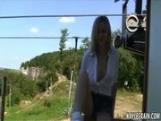 Teen shows her tits and pussy outdoors