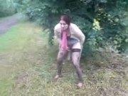 my girlfriend pissing outdoor