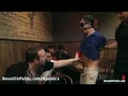 Bound and gagged gay blowjob in gay club