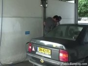 Public  public sex threesome at a car wash