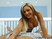 Amy Reid strips and gives a tugjob