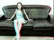 Flexible teen posing spreading on a sofa 3D HD