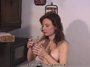 Woman drinks cum from a glass