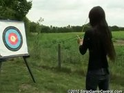 Bex, Debz Charlotte play Strip Archery