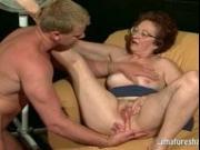Horny granny uses her boytoy