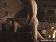 Horny couple sneaks off to the barn for a good hard fucking
