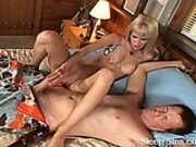 Horny blonde fondles and fucks a sleeping guy