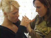 Lesbian girls kissing and licking