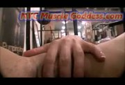 Muscle Girl playing with Huge clit
