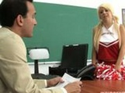 Cute cheerleader Tessa sucking and fucking her professors cock