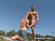 Dude with Big Muscle Fucks Hard Papi Butthole