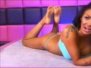 Tan feet and blue bikini