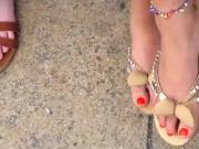 Sexy feet candid view in sexy sandals