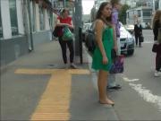 Gorgeous amateur babe enjoys walking barefoot down town