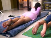 Watch These Two Hot, Wet Cougars, Lay On Their Mats & Get You Hard With Their Feet
